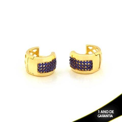 Imagem de Brinco Argola Click com Zircônias Azul ou Rosa com aplique de Ródio - 0211243