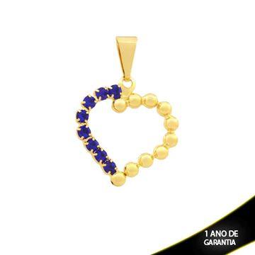 Imagem de Pingente Coração com Bolinhas e Pedras de Strass Várias Cores - 0303518