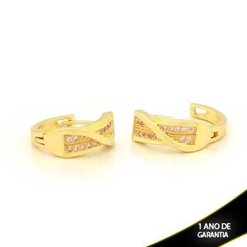 Imagem de Brinco Argola com Duas Fileiras de Zircônias Várias Cores - 0211140