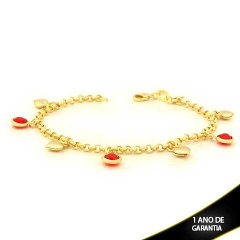 Imagem de Pulseira Feminina com Quatro Corações e Três Pedras de Strass Vermelho 19cm - 0503582