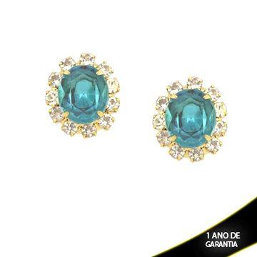Imagem de Brinco Flor com Strass e Pedra Azul Acrílica no Meio - 0210740