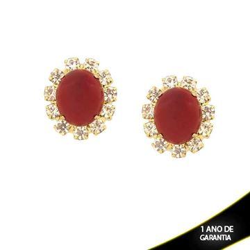 Imagem de Brinco Flor com Strass e Pedra Vermelha Acrílica no Meio - 0210737