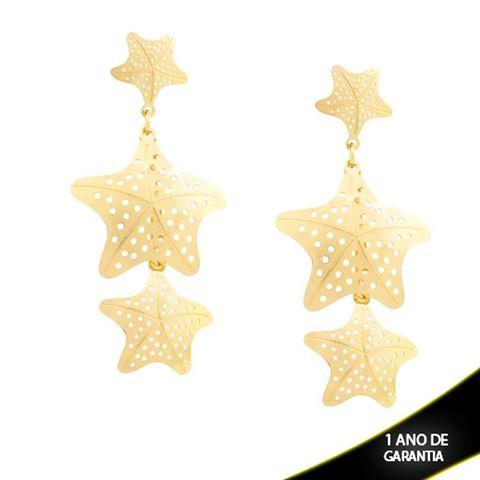 Imagem de Brinco Três Estrelas Vazadas - 0211359