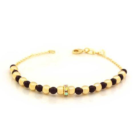 Imagem de Pulseira Feminina com Bolinhas Douradas e Pretas com Strass 18,5cm - 0503575