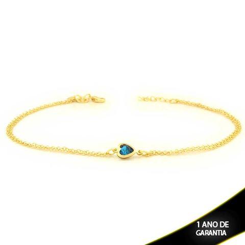 Imagem de Tornozeleira Dupla Fina com Coração Azul 23cm + 2cm de Extensor - 0600626