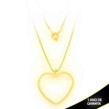 Imagem de Corrente Feminina Coração Liso Vazado 44cm