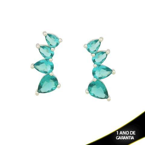 Imagem de Brinco Ear Cuff Três Gotas com Pedras em Banho de Ródio - 0211447