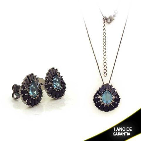 Imagem de Conjunto Gota Trabalhada com Pedras Várias Cores em Banho Negro 45cm Mais 5cm de Extensor - 0701000
