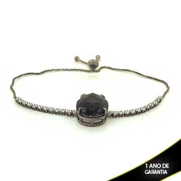 Imagem de Pulseira Feminina Pedra de Gota e Zircônias e Fecho Gravatinha em Banho Negro 23cm - 0503635