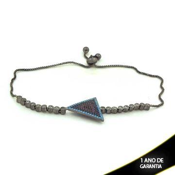 Imagem de Pulseira Feminina Triângulo com Pedras e Zircônias e Fecho Gravatinha em Banho Negro 25cm - 0503628