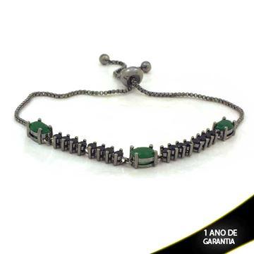 Imagem de Pulseira Feminina com Pedras Várias Cores e Fecho Gravatinha em Banho Negro 24cm - 0503622