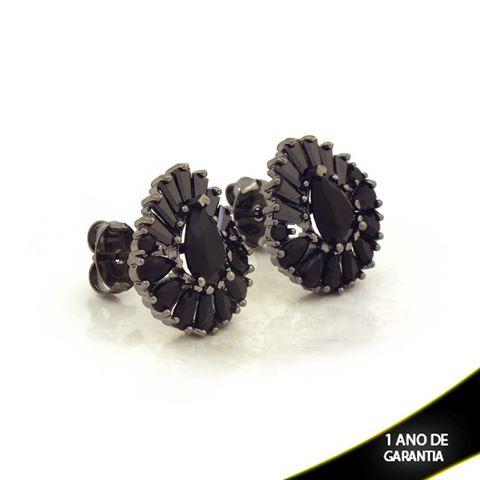 Imagem de Brinco Gota com Pedras Pretas Várias Cores em Banho Negro -  0211474