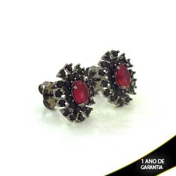 Imagem de Brinco Oval com Pedras Pretas Várias Cores em Banho Negro -  0211443