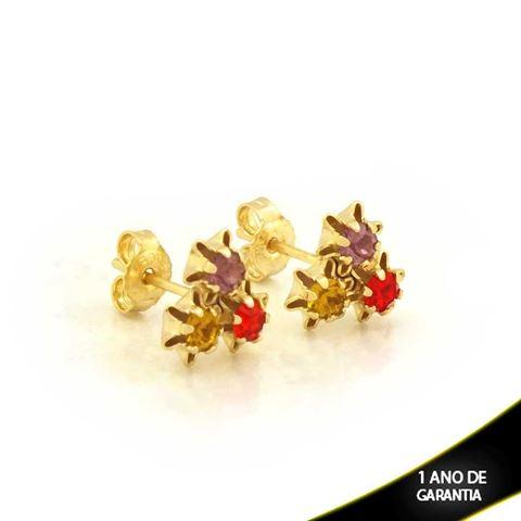 Imagem de Brinco com Três Pedras de Strass Colorido - 0202911
