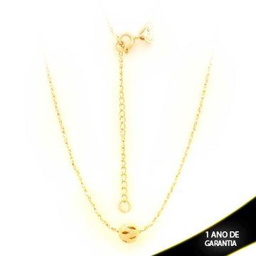 Imagem de Corrente Feminina com Bola Fosca e Diamantada Vazada 40cm Mais 5cm de Extensor - 0403433