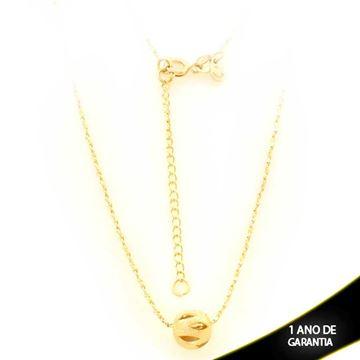 Imagem de Corrente Feminina com Bola Fosca e Diamantada Vazada 40cm Mais 5cm de Extensor - 0403430
