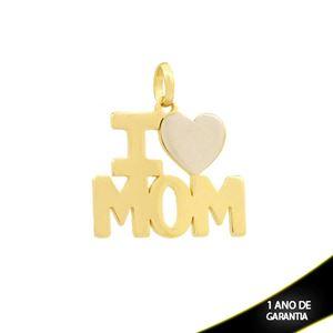 """Imagem de Pingente Escrito """"I Love Mom"""" com Aplique de Ródio - 0304254"""