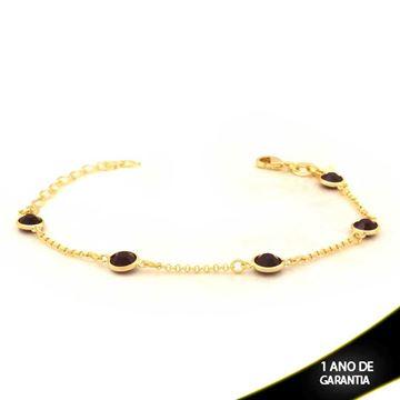 Imagem de Pulseira Feminina Com Cinco Pedras Brancas ou Pretas 7mm 15cm Mais 4cm de Extensor - 0503662