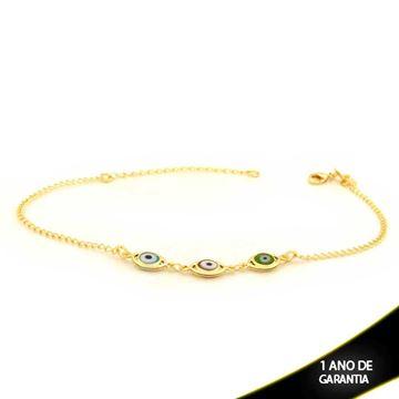 Imagem de Tornozeleira com Três Olhos Gregos Coloridos 21cm Mais 4cm de Extensor - 0600639