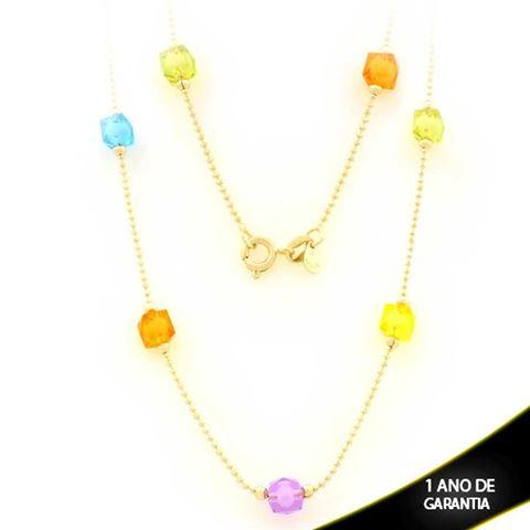 Imagem de Corrente Feminina com Pedras Coloridas 45cm - 0403447