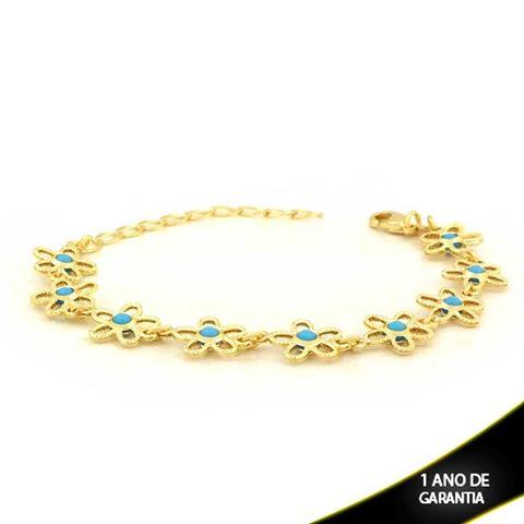 Imagem de Pulseira Feminina com Flores Trabalhadas Azul ou Preta 15cm Mais 4cm de Extensor - 0503684