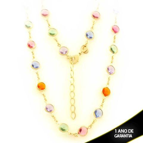 Imagem de Corrente Feminina com Pedras Coloridas 40cm Mais 5cm de Extensor - 0403449