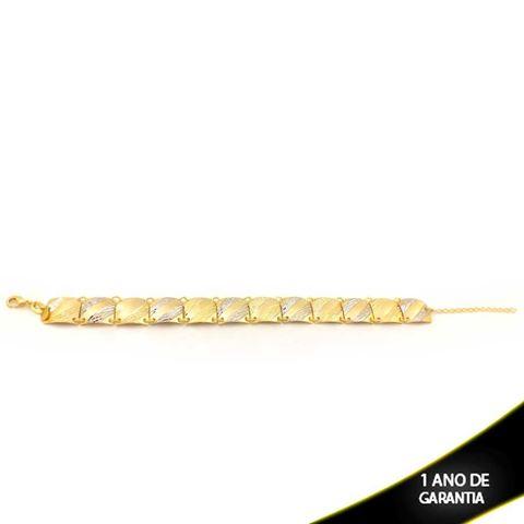 Imagem de Pulseira Feminina Fosca e Diamantada com Aplique de Ródio 12mm 21cm - 0503611