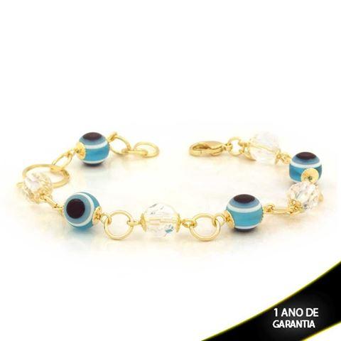 Imagem de Pulseira Feminina com Pedras e Olhos Gregos 19cm - 0503676