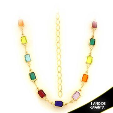Imagem de Corrente Feminina Choker com Pedras Coloridas 36cm Mais 10cm de Extensor - 0403459