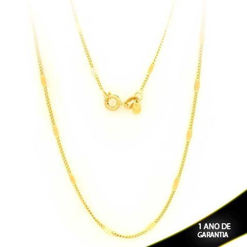 Imagem de Corrente Masculina Malha com Plaquinha Diamantada 2mm 80cm - 0403463