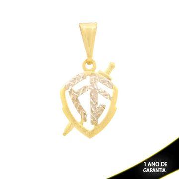 Imagem de Pingente Escudo da Fé Diamantado com Aplique de Ródio - 0304280