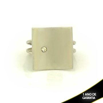 Imagem de Anel Aço Inox Quadrado com Pedra de Strass - 0101760