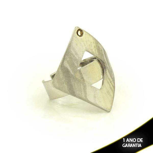 Imagem de Anel Aço Inox Regulável Lixado e Vazado com Pedra de Strass - 0100129