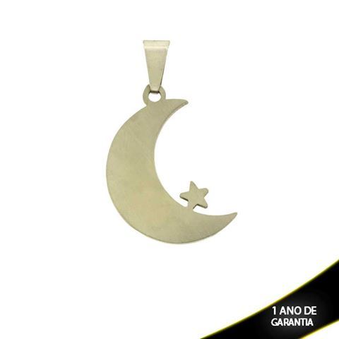 Imagem de Pingente Aço Inox Lua e Estrela - 0300146
