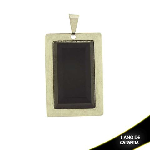 Imagem de Pingente Aço Inox Placa com Pedra Preta - 0300762