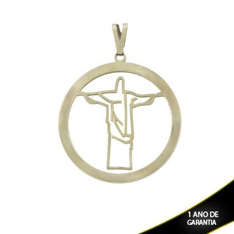 Imagem de Pingente Aço Inox Redondo com Cristo Redentor Vazado - 0302576