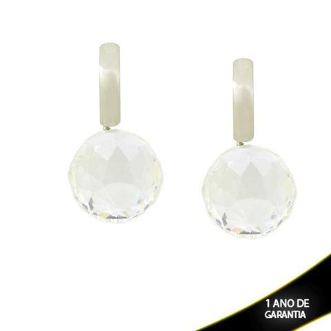 Imagem de Brinco Aço Inox com Pedra de Cristal - 0200263
