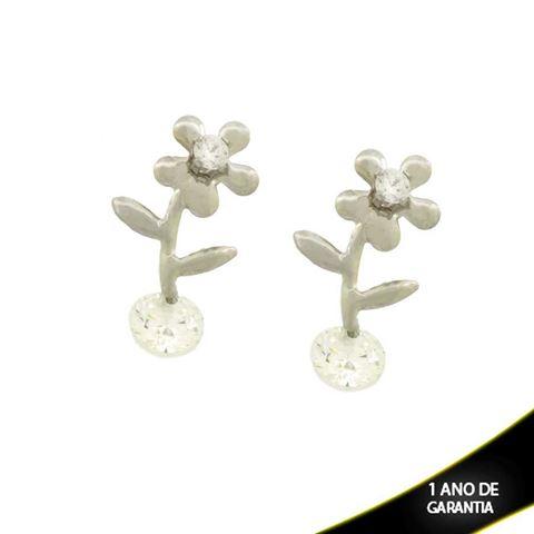 Imagem de Brinco Aço Inox Flor com Strass e Pedra - 0207553