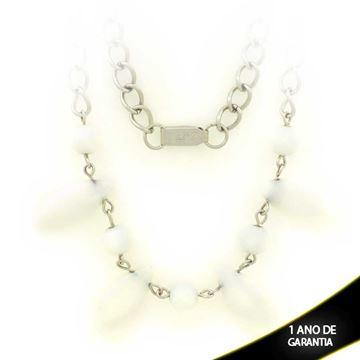 Imagem de Corrente Aço Inox Feminina com Pedras Brancas 52cm - 0401394