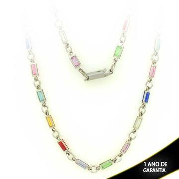 Imagem de Corrente Aço Inox Feminina com Pedras Coloridas 45cm - 0400283