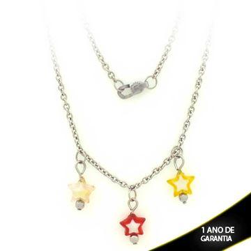 Imagem de Corrente Aço Inox Feminina Choker com Três Estrelas 38cm - 0400793