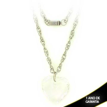 Imagem de Corrente Aço Inox Feminina Coração com Pedra Acrílica 45cm - 0402070