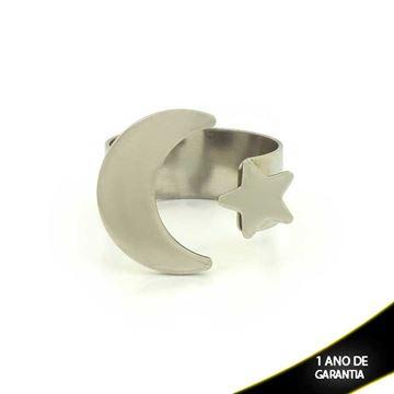 Imagem de Anel Aço Inox Regulável com Lua e Estrela - 0100154