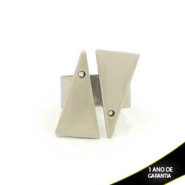 Imagem de Anel Aço Inox Regulável Dois Triângulos com Strass - 0100694