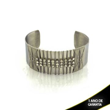Imagem de Pulseira Bracelete Aço Inox Aramado com Strass 20mm - 0500475