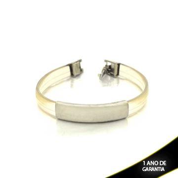 Imagem de Pulseira Bracelete Aço Inox Placa com Silicone 8mm - 0501262