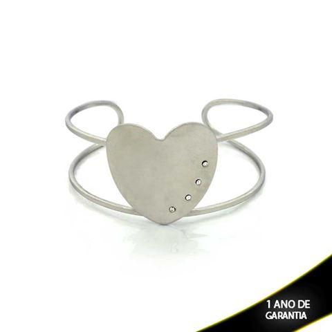 Imagem de Pulseira Bracelete Aço Inox Coração com Strass 23mm - 0500467