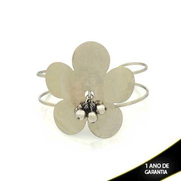 Imagem de Pulseira Bracelete Aço Inox Flor com Bolinhas 20mm - 0501755