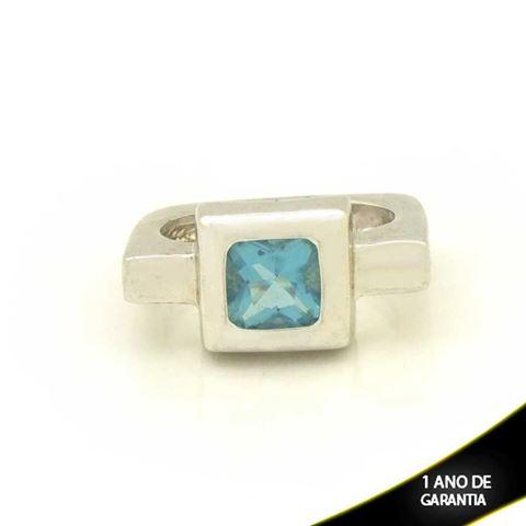 Imagem de Anel Banho de Ródio Quadrado com Pedra Azul - 0102383