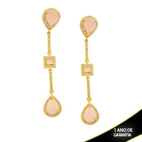 Imagem de Brinco Trabalhado com Pedra e Zircônias Rosa ou Branco - 0211488